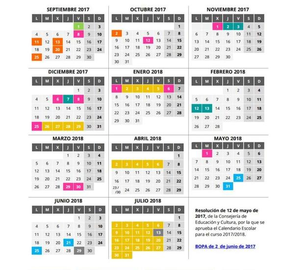 Calendario Escolar Asturias.Calendario Del Curso Escolar 2017 2018 En Asturias Primaria