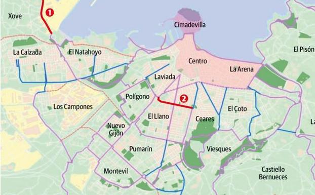 Mapa Carril Bici Gijon.Carriles Bici Para Perez De Ayala Y Eduardo Castro El Comercio