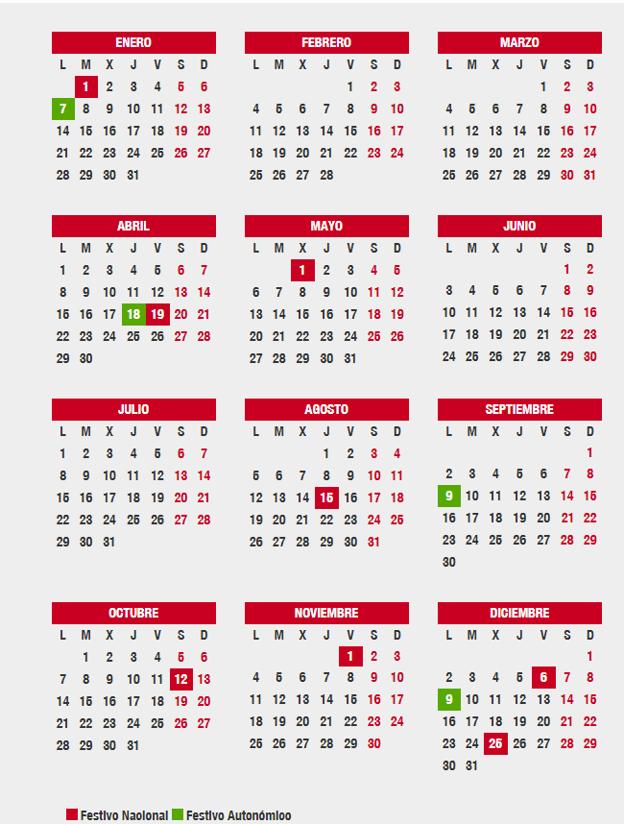 Calendario Festivo.Cuales Son Los Festivos Del Calendario Laboral 2019 De