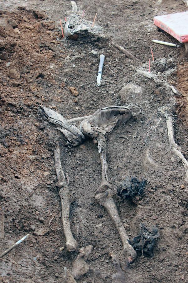 La ayuda económica de familiares y amigos permitió exhumar la fosa lenense de Parasimón.