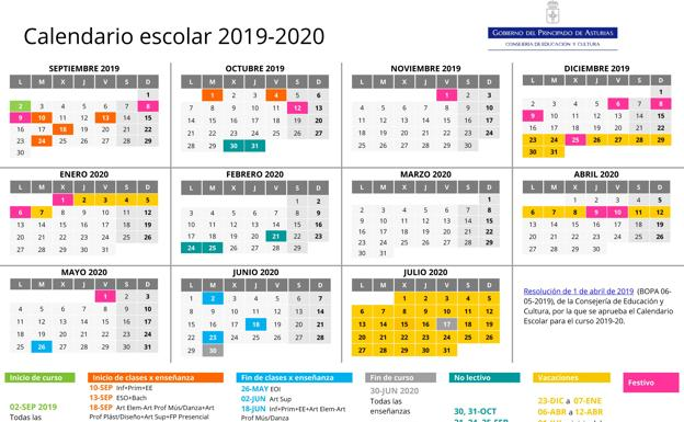 Calendario 2020 Espana Con Festivos.Calendario Escolar De Asturias Para El Curso 2019 2020 El Comercio
